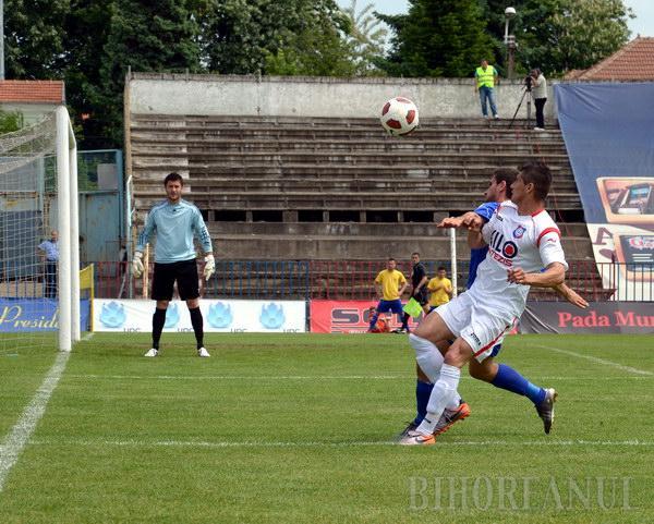 Dispută aprigă: FC Bihor a câştigat cu 2-1 în faţa oltenilor de la ALRO Slatina