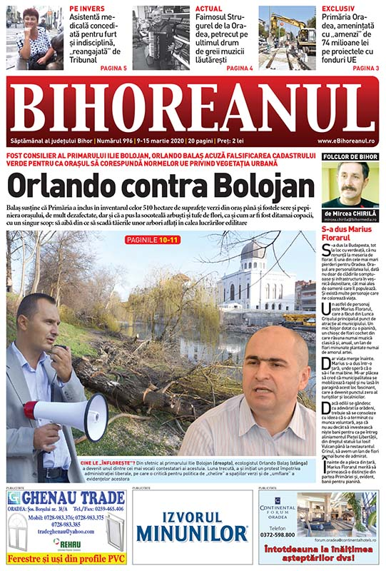 Nu ratați noul BIHOREANUL tipărit! Un fost consilier al lui Ilie Bolojan acuză că Primăria Oradea a falsificat Cadastrul Verde!