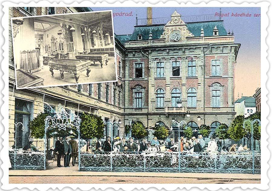 LUXOS ȘI PRIMITOR. Una dintre cele mai renumite cafenele din Oradea era Royal, aflată la parterul Hotelului și Băilor Rimanóczy. Inaugurat pe 15 octombrie 1900, la scurt timp după deschiderea fastuoasă a Teatrului, localul era finisat cu decorații neobaroce și secession, motive florale, arcuri decorative, oglinzi, precum și putto (bebeluși băieți dolofani) în diferite ipostaze, după specificul spațiului: bând, cântând și jucând jocuri de noroc. Clienții puteau să consume alimente și băuturi, să joace biliard și jocuri de noroc și să asiste la reprezentări artistice. În fața cafenelei se afla una dintre cele mai cochete grădini de vară din urbe, ambele funcționând zeci de ani