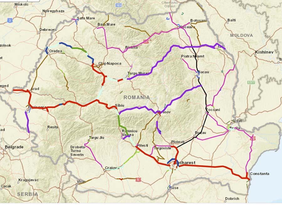 ZESTRE MODESTĂ. Reţeaua de autostrăzi a României are o lungime de numai 855 km, în care sunt incluse şi şoselele de centură cu profil de autostradă ce ocolesc mari oraşe, 113 km fiind moşteniţi dinainte de 1989