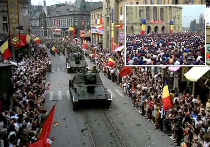 VIN ROMÂNII! Una dintre scenele memorabile, cea a defilării Armatei Române în urma eliberării oraşului de după 23 august 1944, a fost turnată pe strada Republicii. Pelicula redă o arteră încă nepietonalizată, flancată de clădiri cenuşii şi pe care circula tramvaiul 1 către Gară. Pentru realizarea scenei (stânga) a fost folosită tehnică de luptă din al Doilea Război Mondial şi mobilizaţi mii de figuranţi, la fel ca pentru cea din faţa Primăriei (dreapta)