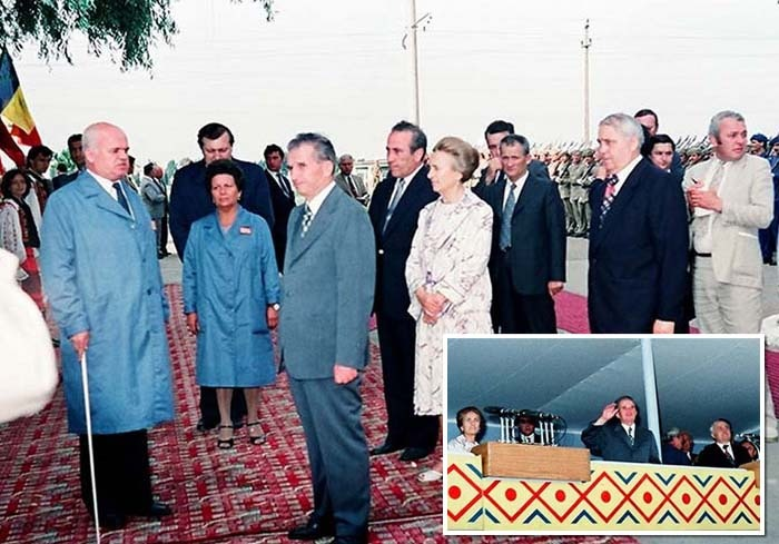 """ALĂTURI DE TOVARĂŞI! Tovarăşul prim-secretar a prins ultima vizită de lucru în Bihor a cuplului prezidenţial Nicolae şi Elena Ceauşescu, desfăşurată pe 10 şi 11 iunie 1987. În tribuna din Piaţa Unirii, unde se ţineau discursurile, Sorcoiu a stat de-a stânga fostului şef al statului (foto 1), iar în imaginea surprinsă la vizitarea unei întreprinderi (foto 2) apare în spatele """"celei mai iubite fiice a poporului"""""""