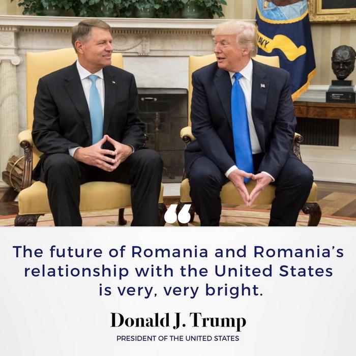 Trump şi-a pus pe Facebook poză cu Iohannis: Viitorul României şi al relaţiei României cu Statele Unite este foarte, foarte luminos