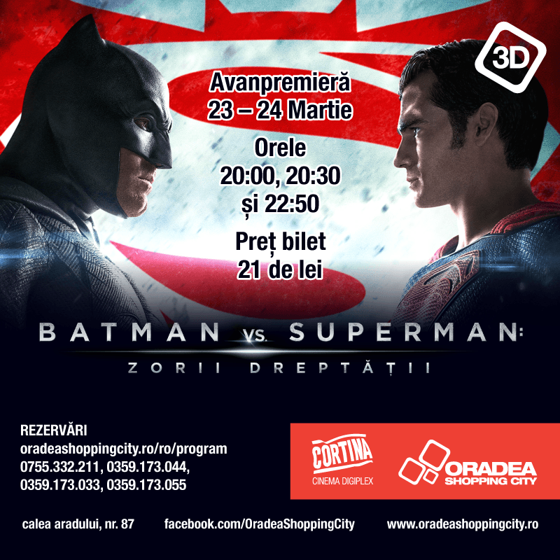 Batman versus Superman: Zorii Dreptăţii se vede la Cortina Cinema Digiplex
