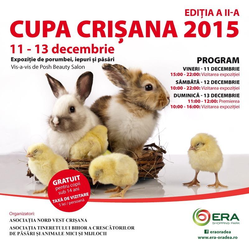 Cupa Crişana 2015: Expoziţie de porumbei, păsări şi iepuri, la ERA Park