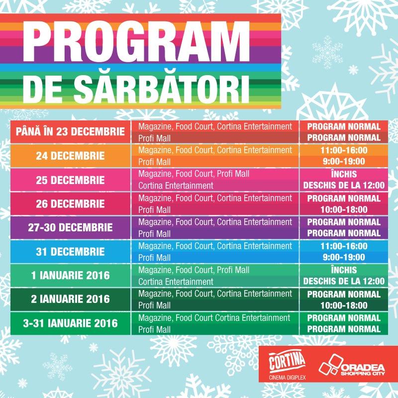 Program de sărbători Oradea Shopping City