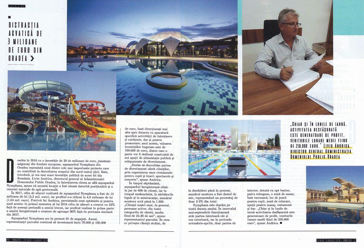 În topul locurilor de distracție: Aquaparkul Nymphaea, în revista Business Magazin