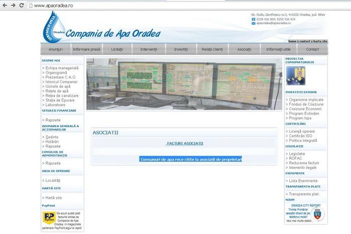 Consumurile citite la Asociaţiile de proprietari, acum şi pe site-ul Companiei de Apă