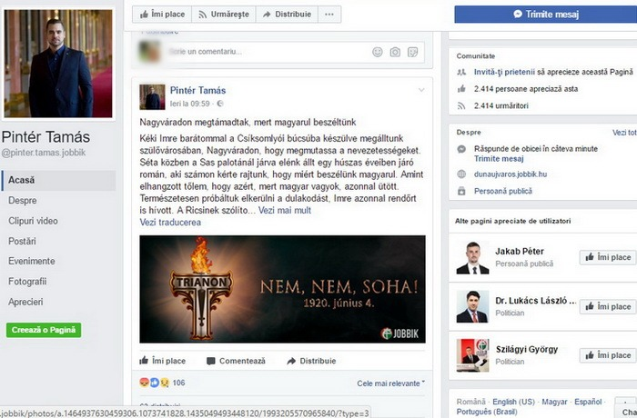 """Un deputat extremist al Jobbik, Pintér Tamás, se plânge că a fost atacat în centrul Oradiei: """"I-am spus că sunt maghiar și a lovit"""""""