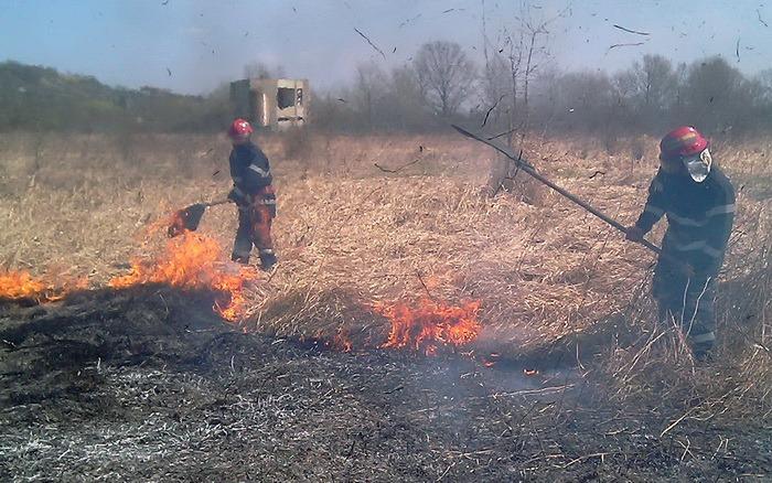 80 de hectare incendiate: Pompierii din Tinca s-au luptat aproape 9 ore cu flăcările care au cuprins o păşune