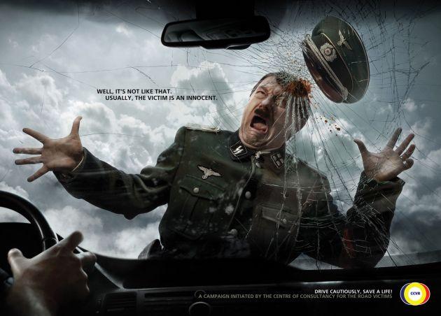 Hitler, Stalin şi Hussein, pe post de victime într-o campanie pentru siguranţa pietonilor (FOTO)