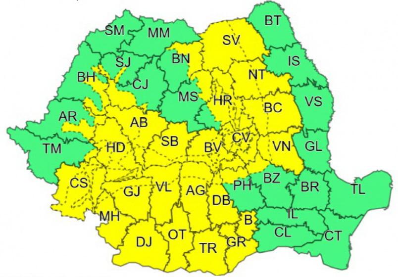 hartă cod galben