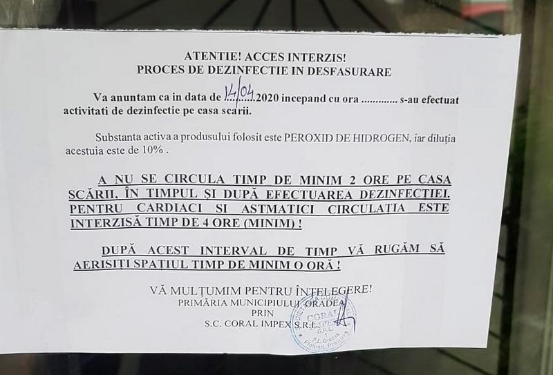 Afiş dezinfecţie Oradea