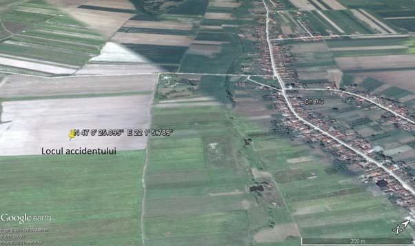 locul prăbușirii avionului Cessna 150M